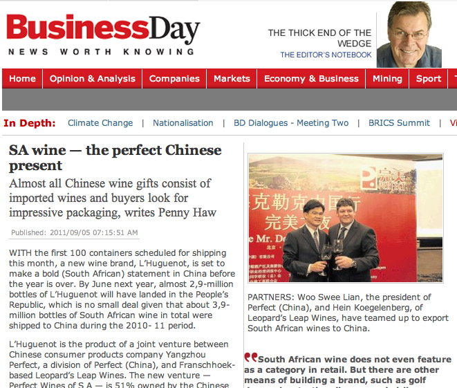 Media Coverage of Perfect Wines of South Africa