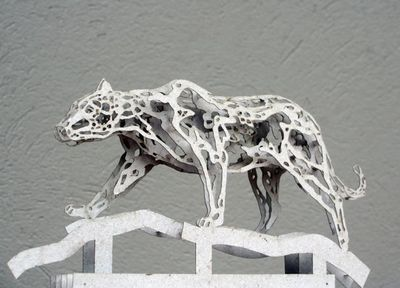 Leopard sculptures at our new estate