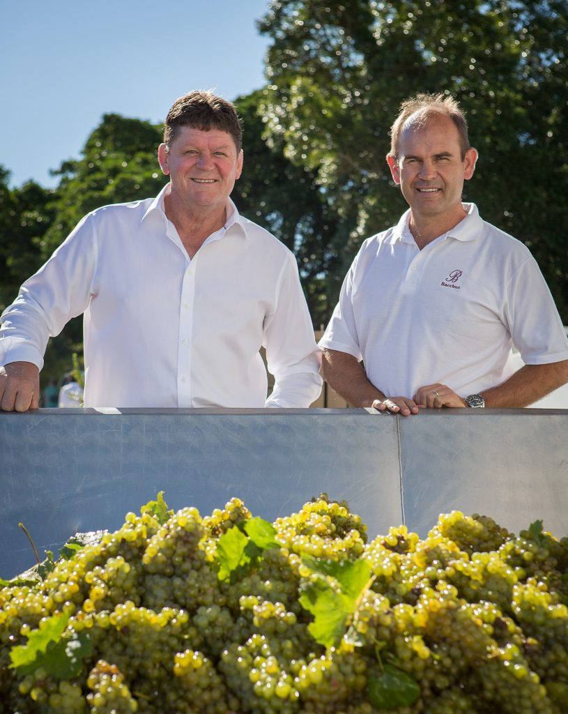 Blessing of the Harvest 2015 Hein Koegelenberg Edmund Terblanche with first chardonnay resize 815x1024
