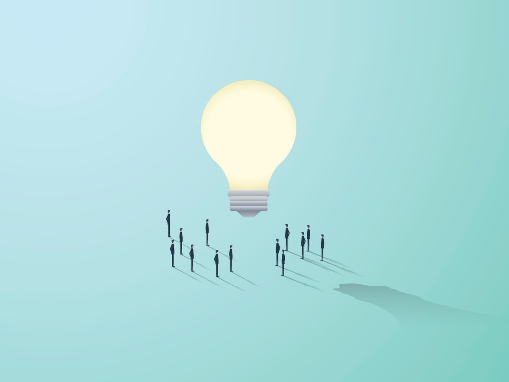 business creativity vector concept with big light bulb and people vector id628995640